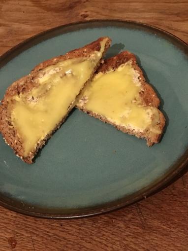 Vegan lemon curd on toast.