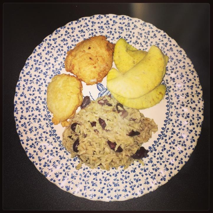 Jamaican patties, dumplings and rice and peas.