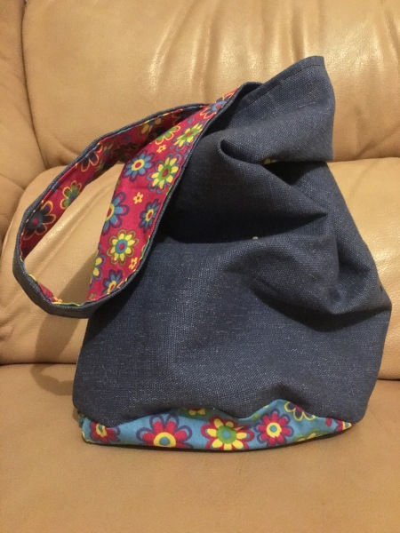Japanese knot bag denim and floral fabric.