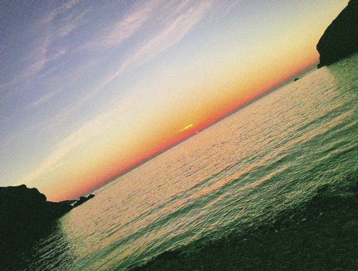 Sunset, Trefin, half tone, textured view.