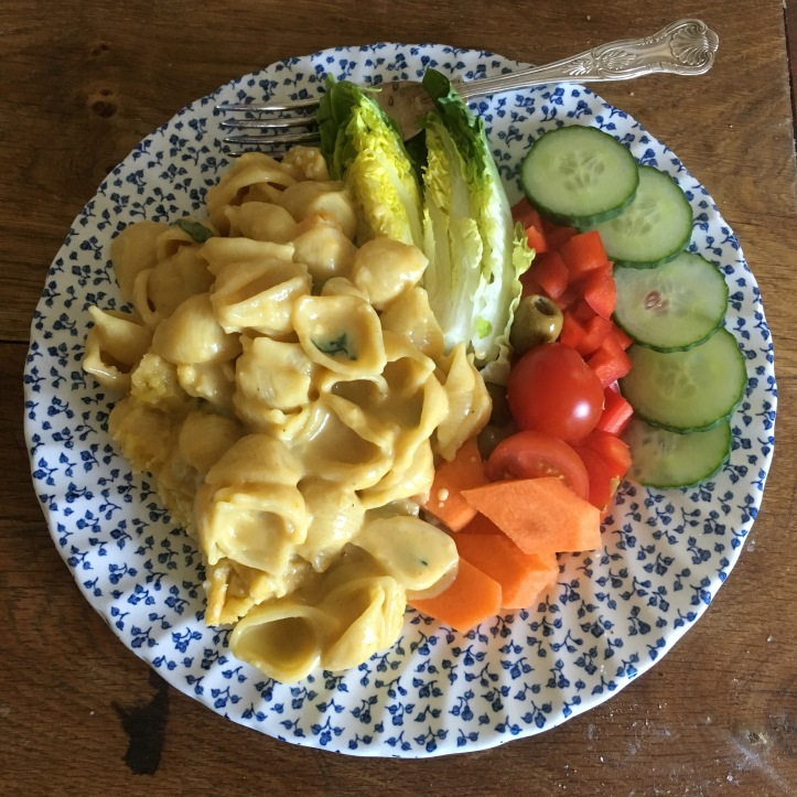 Vegan pasta dish with a 'cheese' sauce and salad