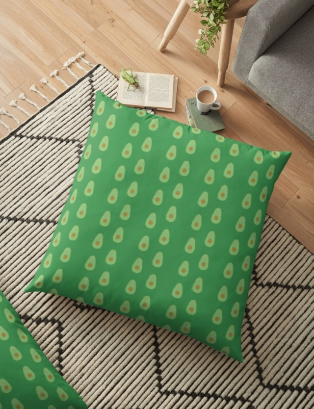 cartoon avocado cushion
